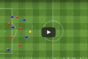 Ejercicio de partido aplicado de 5 jugadores contra 5 más 2 porteros en doble área