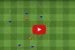 Ejercicio de rondo cuatro jugadores contra tres en tres subespacios