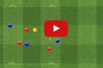 Ejercicio de rondo de cuatro jugadores contra cuatro mas un neutral con cuatro porterias