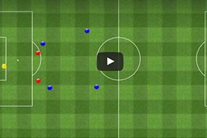 Ejercicio de fútbol táctico, movimientos tácticos de defensa y finalización