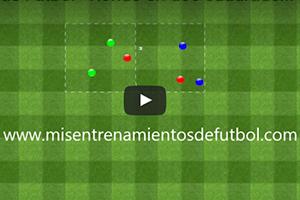 Ejercicio de táctica – Rondo en dos cuadrados de tres equipos de dos jugadores cada uno