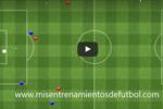Ejercicio de tactica salida de balon cuatro defensas mas un portero contra tres delanteros