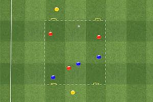 Rondo de tres jugadores contra tres con dos neutrales por fuera y 4 porterías