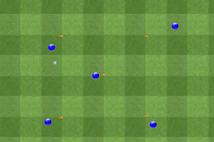 Ejercicio de técnica, rueda de pases 5 jugadores, 5 conos
