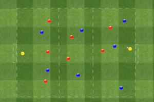 Ejercicio de partido aplicado, dos equipos de siete jugadores más un portero