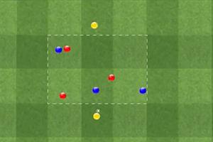 Ejercicio de Rondo 3 jugadores contra 3 más dos comodines en amplitud