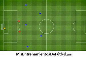 Ejercicio táctico de fútbol, movimientos tácticos de defensa y finalización