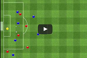 Ejercicio de partido aplicado, seis jugadores más un portero contra cinco defensores