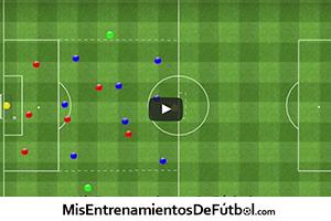 ejercicio de partido aplicado 8 jugadores contra 6 mas dos porteros con 2 apoyos
