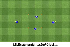 ejercicio de técnica para un entrenamientos de fútbol de cuatro jugadores