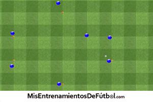 Ejercicio de técnica rueda de pases para siete jugadores de un entrenamiento de fútbol