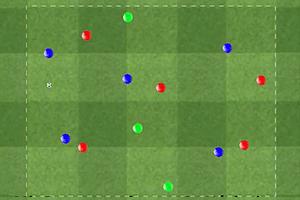 Ejercicio de fútbol, Rondo de 5 jugadores contra 5 más 3 comodines