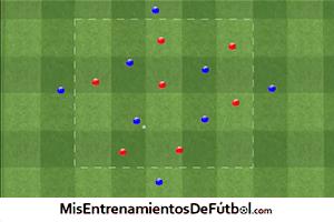 ejercicio de rondo de ocho jugadores contra siete con cambio de transiciones
