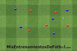 Rondo posicional, 5 jugadores contra 5 en dos cuadrados