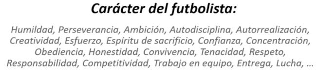 carácter del jugador de fútbol