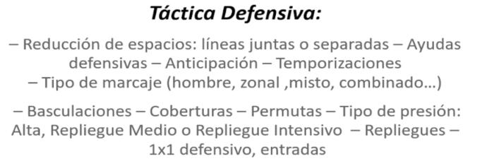 definición de táctica defensiva